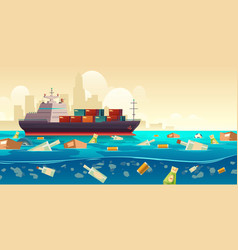 Pacific ocean plastic garbage pollution problem vector