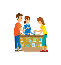 People at souvenirs shop buying products items vector