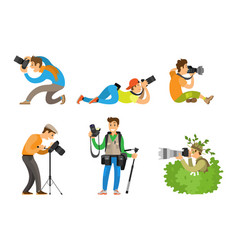 Photographers and photo reporters with cameras set vector