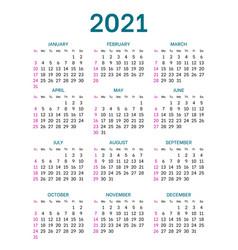 Pocket calendar layout for 2021 year vector