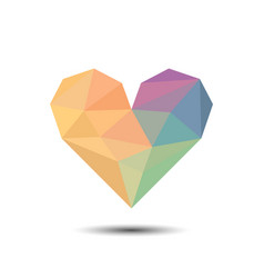 polygon colorful heart icon lgbt love wins for vector image