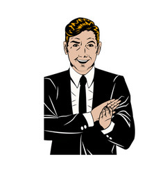 pop art man suit applauding hands vector image