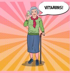 Pop art senior woman with vitamins health care vector
