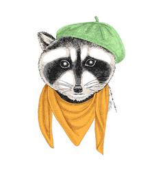 Portrait of raccoon baby with accessories vector