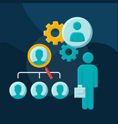 Recruiting process flat concept icon vector