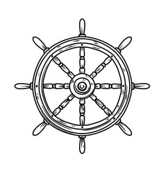 retro ship steering wheel design element vector image