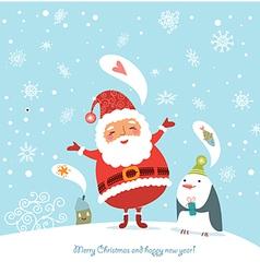 Santa and Penguin vector image