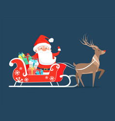 Santa claus on sledge with reindeer and presents vector