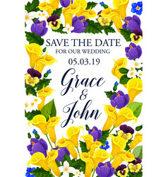 Save the date wedding flowers card vector