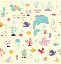 Sea animals cartoon seamless pattern vector