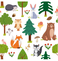 seamless woodland animals pattern summer forest vector image