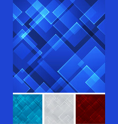 Set abstract blue red gray square shape vector