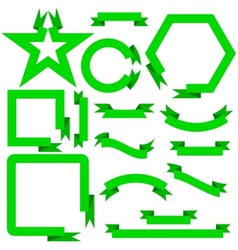 Set green ribbons and banners vector