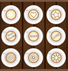 Set of coffee cups on wooden background vector