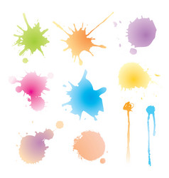 set of colorful watercolor blots vector image