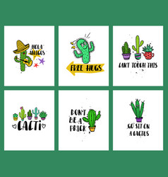 set of funny cacti cards and lettering vector image