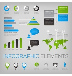 Set of infographic elements with world map vector