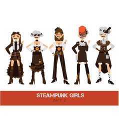 Set with steampunk man cartoon flat vector