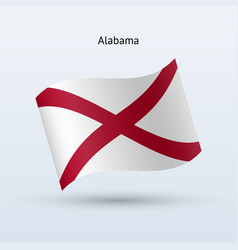 State of alabama flag waving form vector