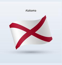 state of alabama flag waving form vector image