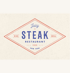 Steak logo meat label logo with text steak vector