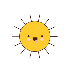 Sun icon colorful kawaii silhouette vector