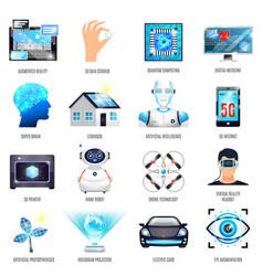 Technologies future icons set vector