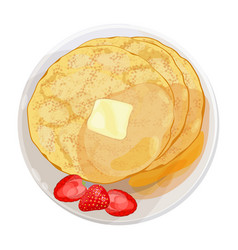Thin pancakes with strawberries lying on plate vector