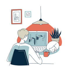 trading exchange home office trader workplace vector image