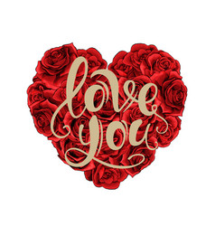 valentines day red roses heart filled and vector image