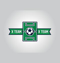 Versus sport team logo design with football field vector