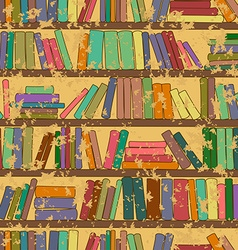 Vintage seamless pattern of bookshelf with books vector image