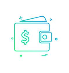 wallet money dollar icon design vector image