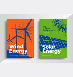 Wind and solar energy posters vector
