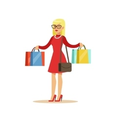 Woman With Many Paper Bags Shopping In Department vector