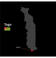 Detailed map of Togo and capital city Lome with vector image