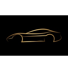 Golden abstract car logo vector image