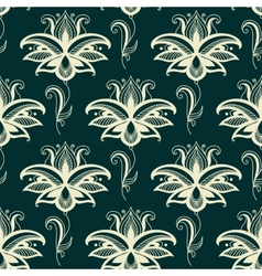 Persian paisley floral seamless pattern vector image