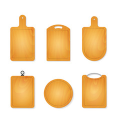 realistic 3d cutting wooden boards set vector image