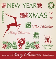set of Christmas retro design elements vector image