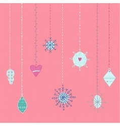 Winter hand drawn toys and snowflakes collection vector image vector image
