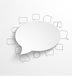 Blank white paper speech bubble with shadow and vector image vector image