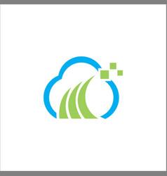 cloud digital technology logo vector image