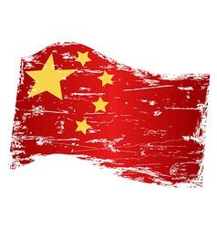 grungy china flag vector image vector image