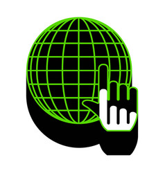 earth globe with cursor green 3d icon vector image