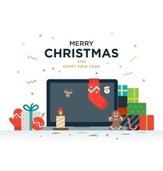 Laptop with gifts candles red ball and Christmas vector image vector image