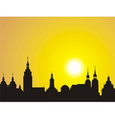 sunrise over the historic city vector image vector image