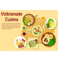 Vietnamese family dinner served on floor flat icon vector image