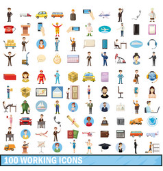 100 working icons set cartoon style vector