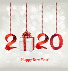 2020 new years background with gift box and red vector image